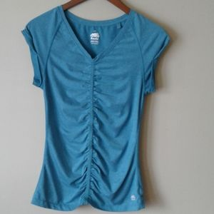 Roots v neck ruched cuff sleeve yoga t shirt.